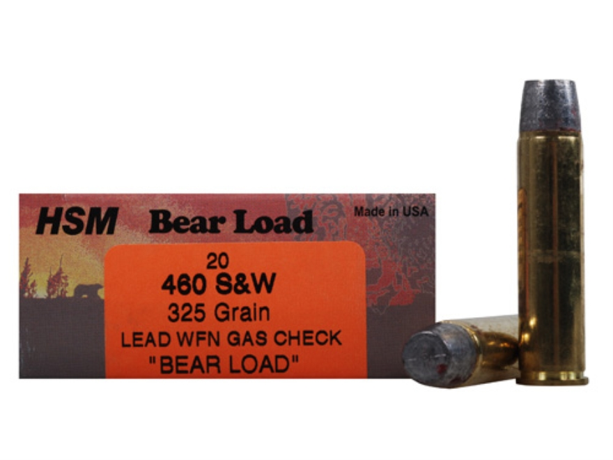 HSM Bear Ammunition 460 S&W Magnum 325 Grain Lead Wide Flat Nose Gas Check Box of 20