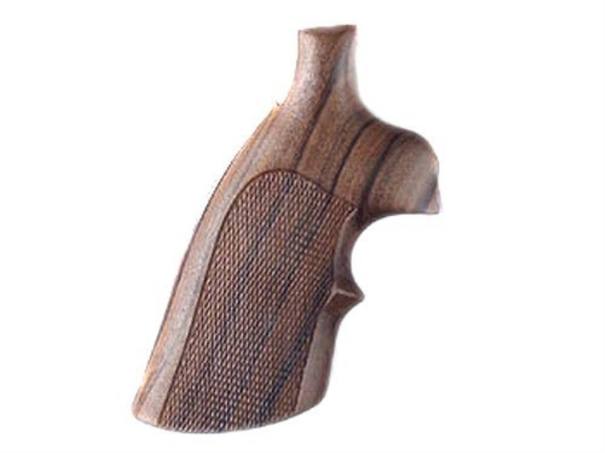 Hogue Fancy Hardwood Grips with Top Finger Groove S&W N-Frame Round Butt Checkered