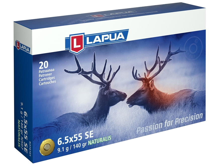 Lapua Naturalis Ammunition 6.5x55mm Swedish Mauser 140 Grain Round Nose Lead-Free Box o...