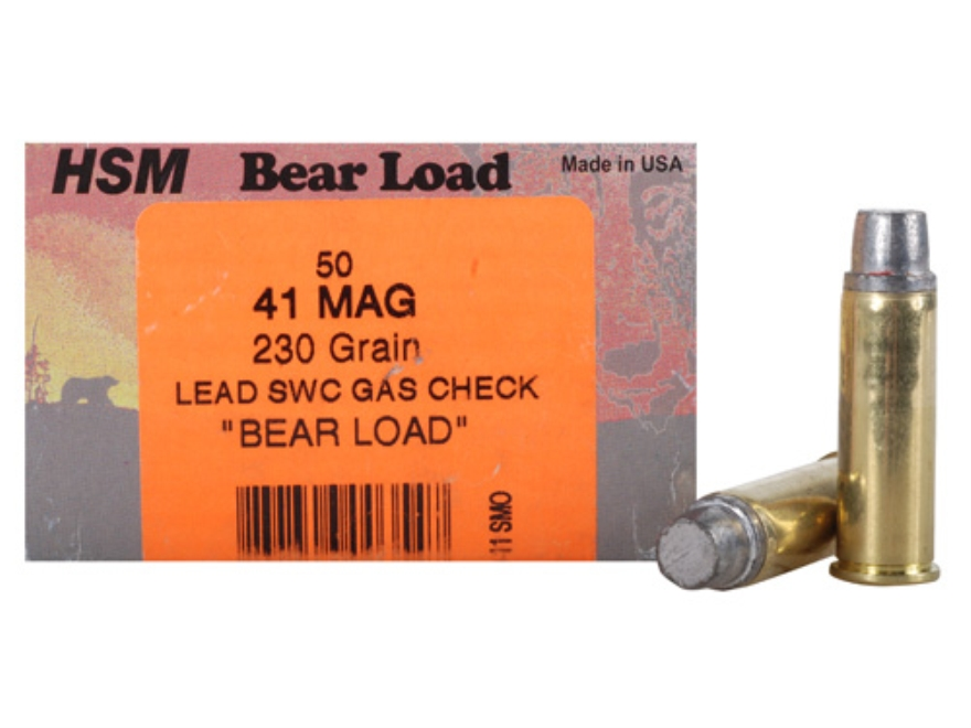 HSM Bear Ammunition 41 Remington Magnum 230 Grain Lead Semi-Wadcutter Gas Check Box of 50