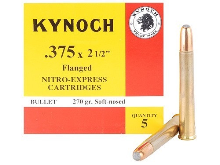 "Kynoch Ammunition 375 Nitro Express Flanged 2-1/2"" 270 Grain Woodleigh Weldcore Soft Po..."