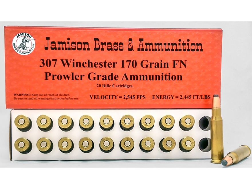 Jamison Ammunition 307 Winchester 170 Grain Lead Flat Point Box of 20