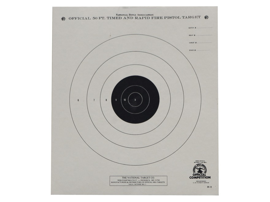 NRA Official Pistol Targets B-3 50' Timed and Rapid Fire Paper Package of 100