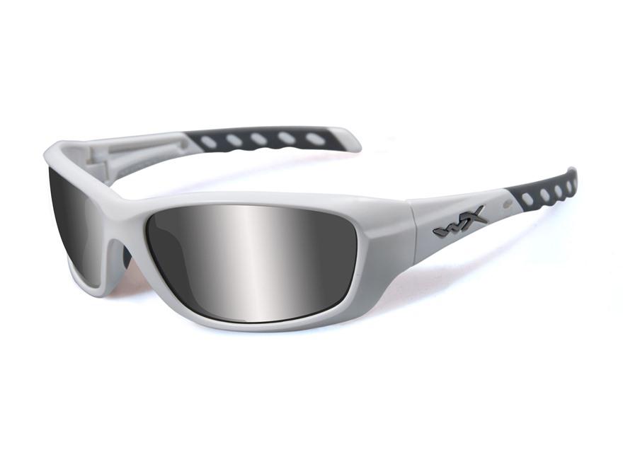 Wiley X Black Ops WX Gravity Sunglasses Matte White Frame Silver Flash Lens
