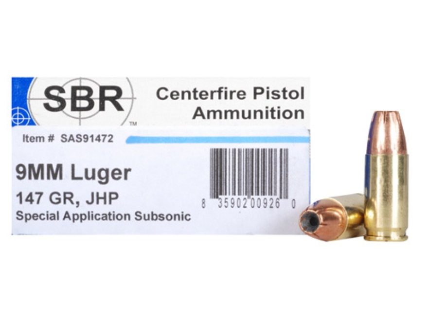 SBR Special Application Subsonic (SAS) Ammunition 9mm Luger 147 Grain Jacketed Hollow P...