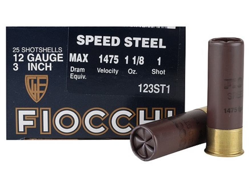 "Fiocchi Speed Steel Ammunition 12 Gauge 3"" 1-1/8 oz #1 Non-Toxic Steel Shot Case of 250..."