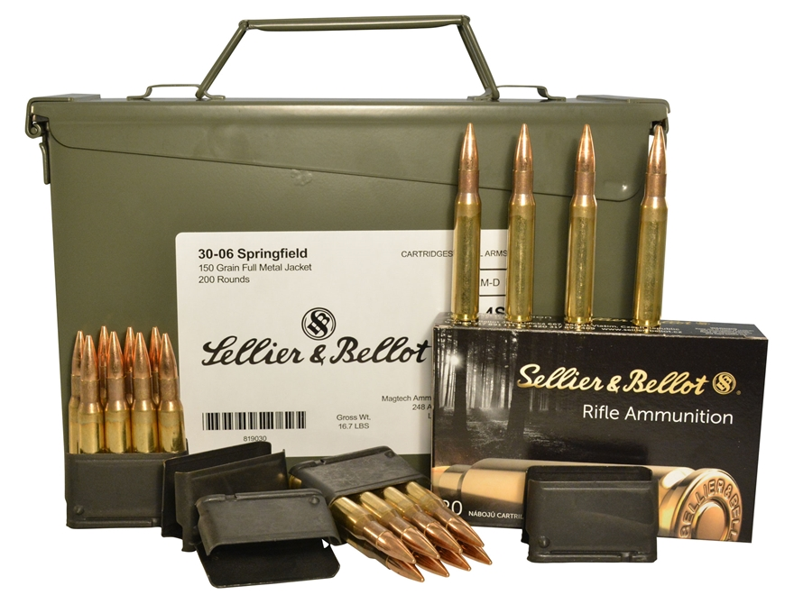 Sellier & Bellot Ammunition 30-06 Springfield (M1 Garand) 150 Grain Full Metal Jacket A...