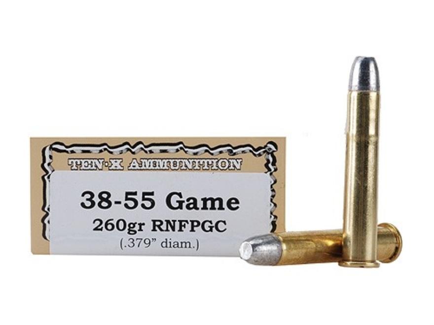 Ten-X Cowboy Ammunition 38-55 WCF 260 Grain Lead Round Nose Flat Point Gas Check Box of 20