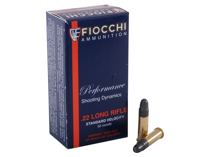 Fiocchi Ammunition 22 Long Rifle 40 Grain Lead Round Nose