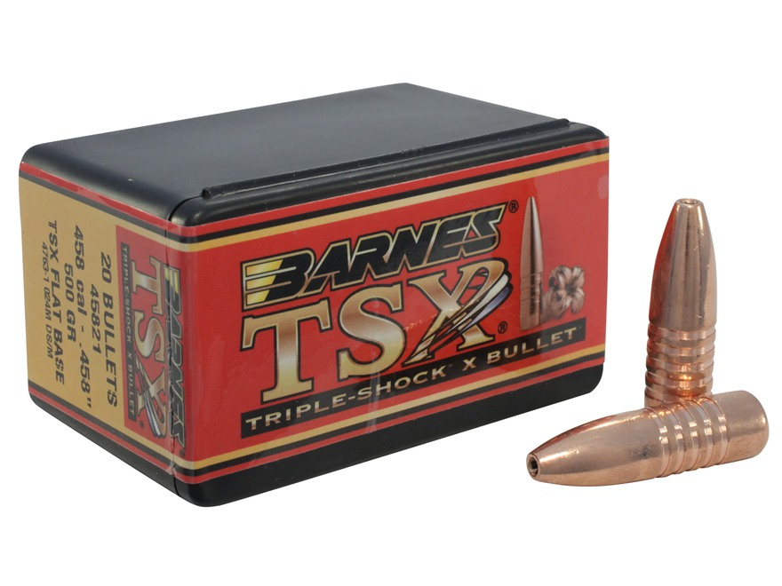 Barnes Triple-Shock X Bullets 458 Caliber (458 Diameter) 500 Grain Hollow Point Flat Ba...