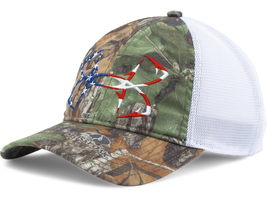 Under Armour UA Camo Fish Hook Mesh Cap Polyester Mossy Oak Obsession Camo and White