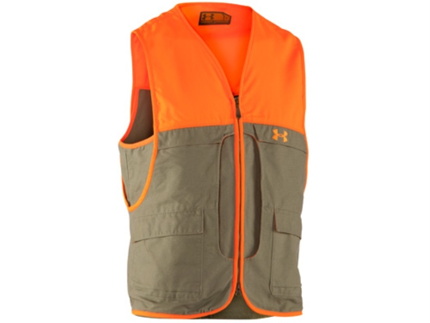 Under Armour Men's Prey Game Vest Cotton and Nylon Thyme and Blaze Orange Large 42-44