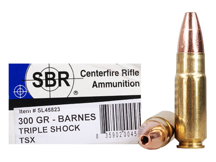 SBR Ammunition 458 SOCOM 300 Grain Barnes Triple-Shock X Bullet Hollow Point Lead-Free ...
