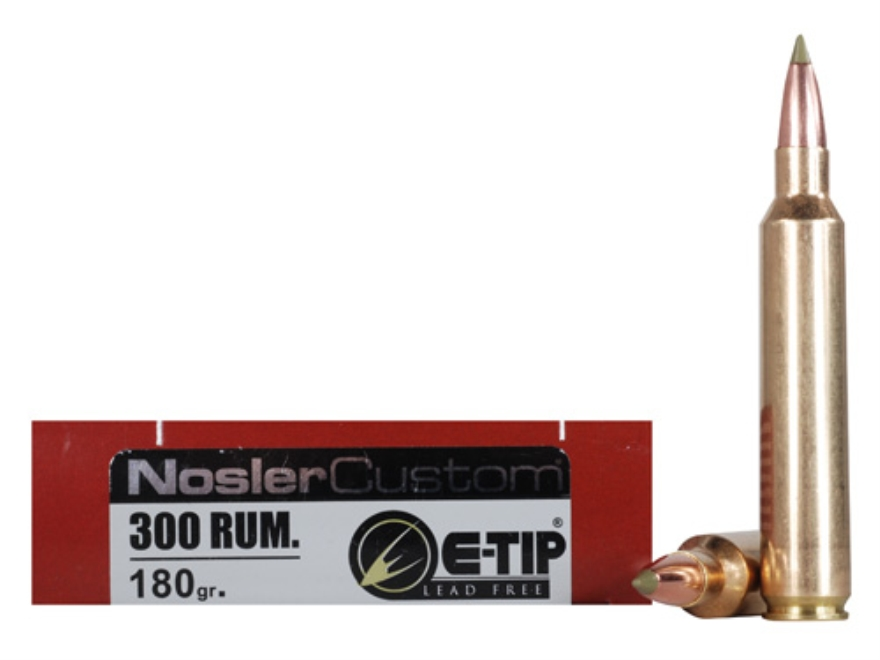 Nosler Trophy Grade Ammunition 300 Remington Ultra Magnum 180 Grain E-Tip Lead-Free Box...