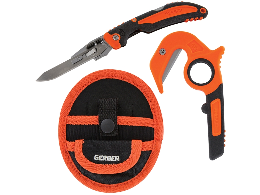 Gerber Vital Folding Pocket Knife and Vital Zip Guthook Knife Combo With Replacement Bl...