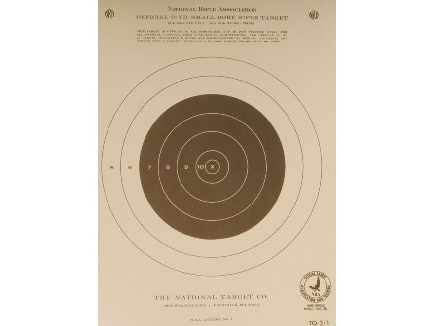 NRA Official Smallbore Rifle Training Targets TQ-3/1 50 Yard Paper Pack of 100