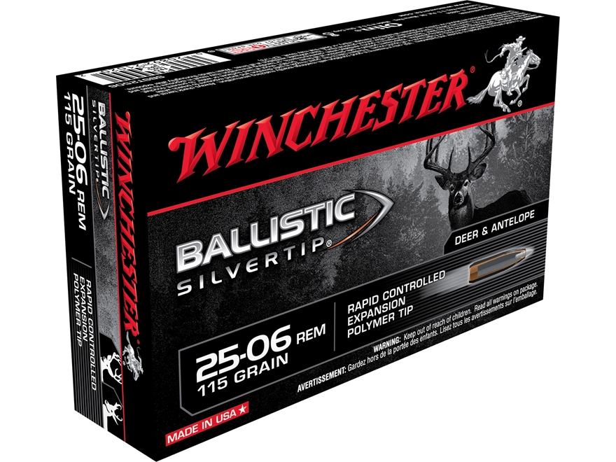 Winchester Ballistic Silvertip Ammunition 25-06 Remington 115 Grain Rapid Controlled Ex...
