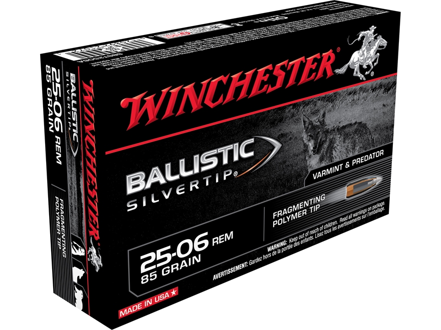 Winchester Ballistic Silvertip Varmint Ammunition 25-06 Remington 85 Grain Rapid Contro...