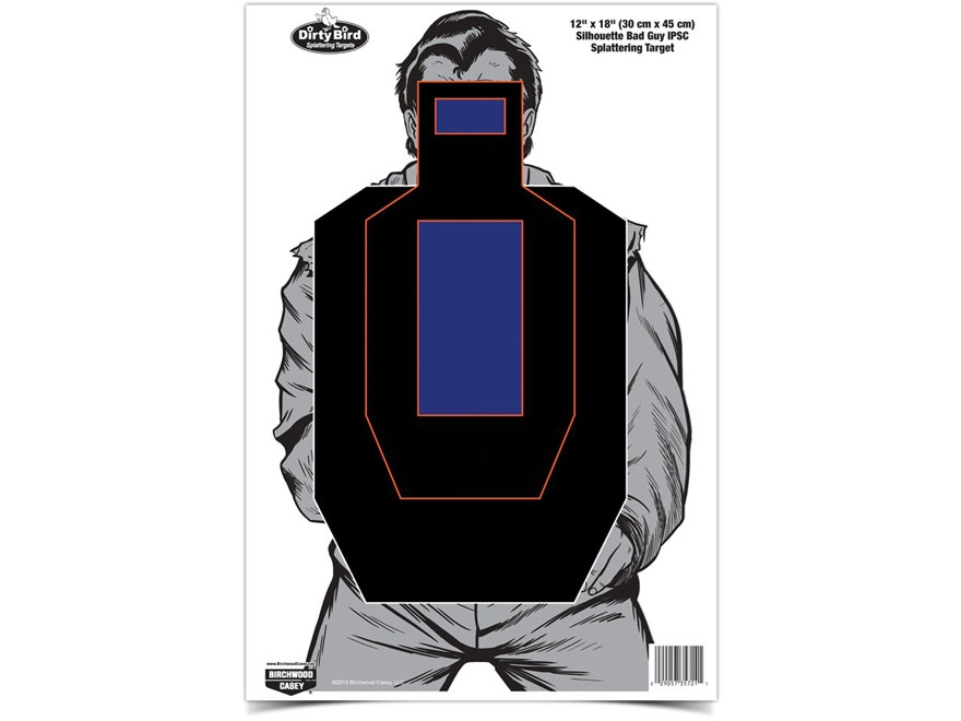 "Birchwood Casey Dirty Bird Bad Guy IPSC Silhouette 12"" x 18"" Target Pack of 8"