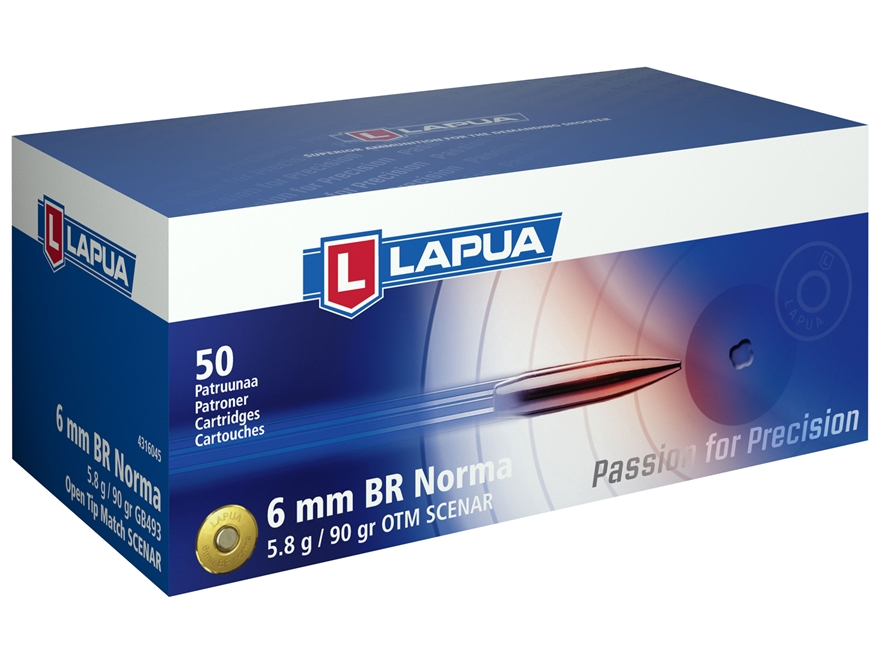 Lapua Scenar Ammunition 6mm Norma BR (Bench Rest) 90 Grain Hollow Point Boat Tail Box o...