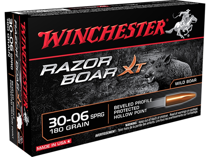 Winchester Razor Boar XT Ammunition 30-06 Springfield 180 Grain Hollow Point Lead-Free