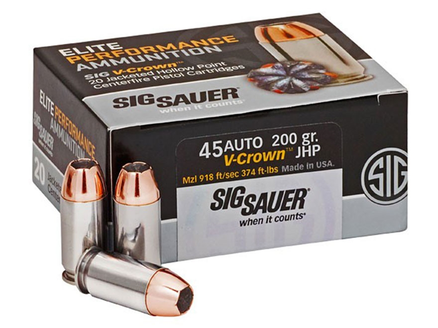 Sig Sauer Elite Performance Ammunition 45 ACP 200 Grain V-Crown Jacketed Hollow Point B...