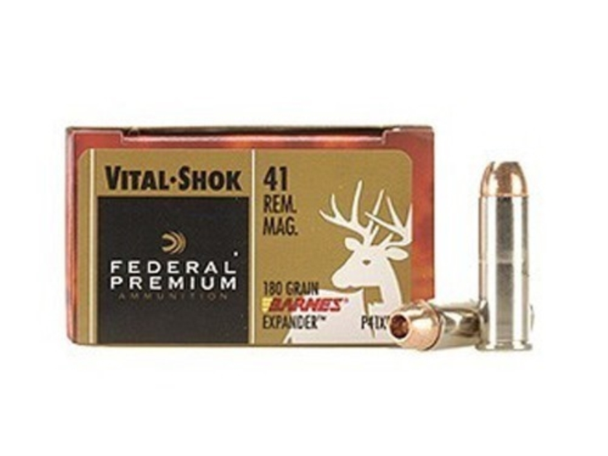 Federal Premium Vital-Shok Ammunition 41 Remington Magnum 180 Grain Barnes XPB Hollow P...