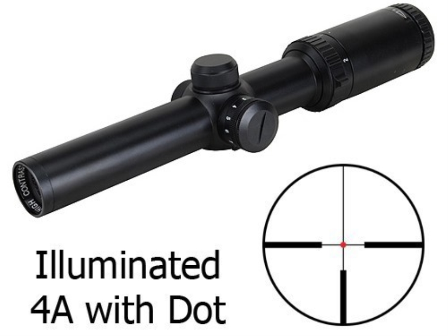 Bushnell Trophy Rifle Scope 30mm Tube 1-4x 24mm Illuminated 4A with Dot Reticle Matte