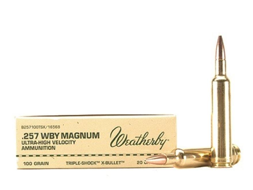 Weatherby Ammunition 257 Weatherby Magnum 100 Grain Barnes Triple-Shock X Bullet Hollow...