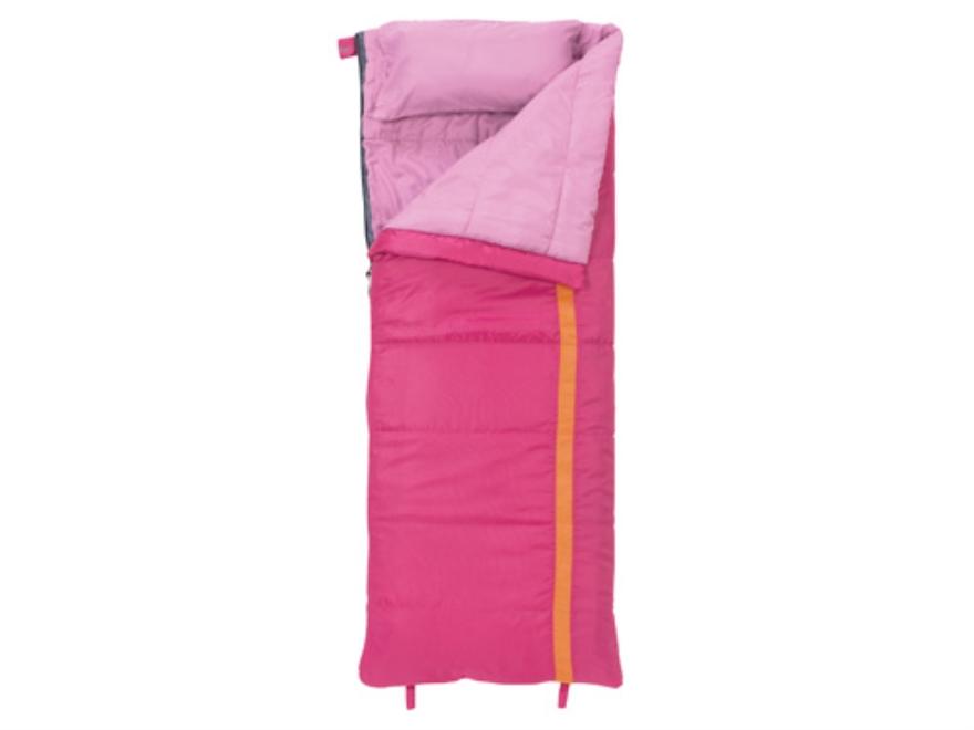 """Slumberjack Kit 40 Degree Youth Sleeping Bag 23"""" x 66"""" Polyester Pink and Orange"""