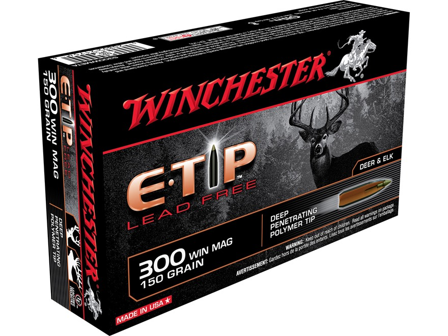 Winchester E-Tip Ammunition 300 Winchester Magnum 150 Grain E-Tip Lead-Free Polymer Tip