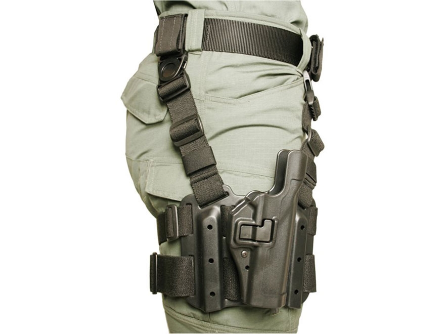 BLACKHAWK! Tactical Serpa Level 2 Thigh Holster Right Hand Glock 20, 21, 21SF, S&W M&P ...