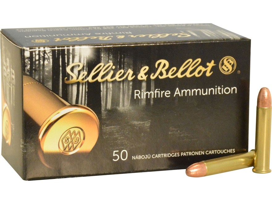 Sellier & Bellot Ammunition 22 Winchester Magnum Rimfire (WMR) 45 Grain Copper Plated L...
