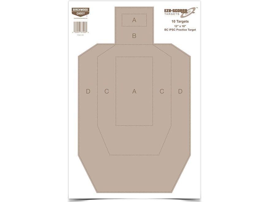 "Birchwood Casey Eze-Scorer BC IPSC Practice Targets 12"" x 18"" Package of 10"