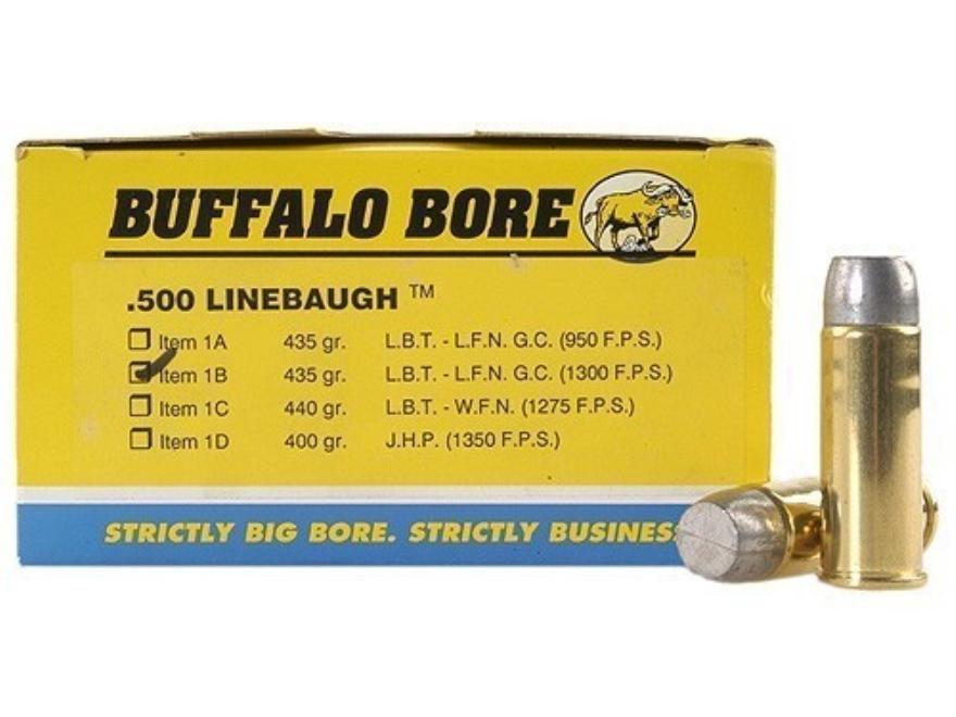 Buffalo Bore Ammunition 500 Linebaugh 435 Grain Lead Flat Nose High Velocity Box of 50