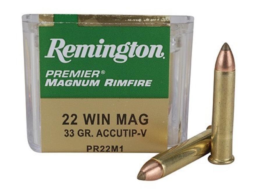 Remington Premier Ammunition 22 Winchester Magnum Rimfire (WMR) 33 Grain Accu-Tip Box o...