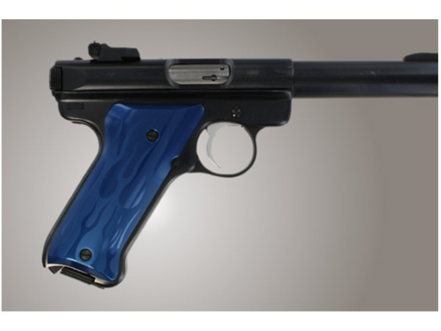 Hogue Extreme Series Grip Ruger Mark II, Mark III Flames Aluminum Blue