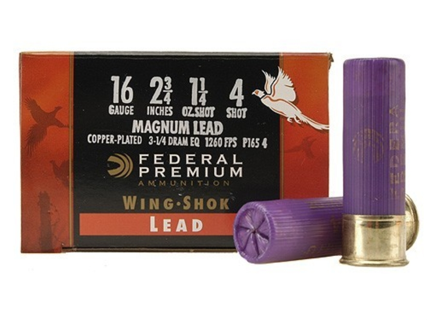 "Federal Premium Wing-Shok Ammunition 16 Gauge 2-3/4"" 1-1/4 oz Buffered #4 Copper Plated..."