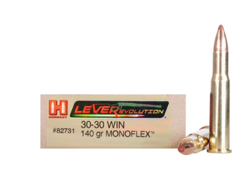 Hornady LEVERevolution Ammunition 30-30 Winchester 140 Grain MonoFlex Lead-Free Box of 20
