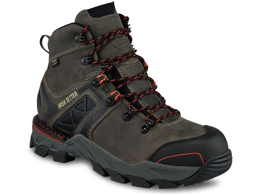 "Irish Setter Crosby 6"" Waterproof Work Boots Leather/Nylon Gray Men's"
