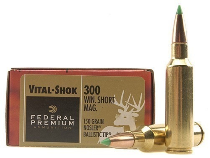 Federal Premium Vital-Shok Ammunition 300 Winchester Short Magnum (WSM) 150 Grain Nosle...