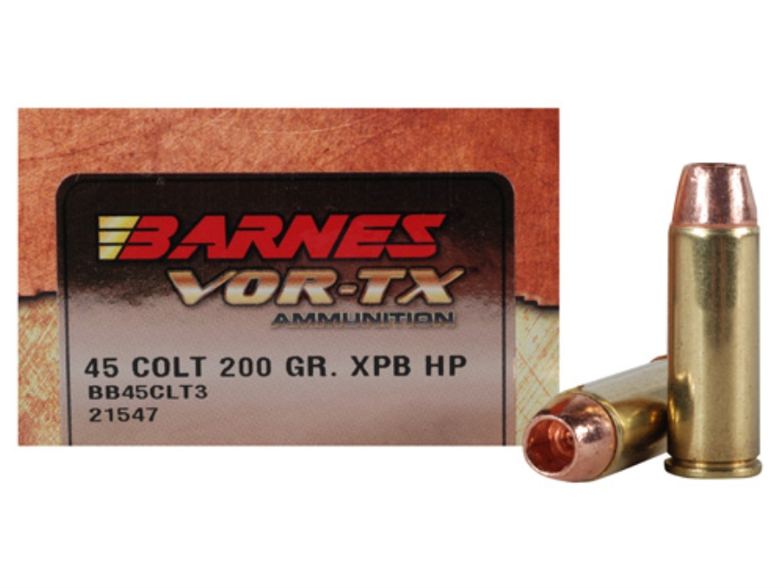 Barnes VOR-TX Ammunition 45 Colt (Long Colt) 200 Grain XPB Hollow Point Lead-Free Box o...
