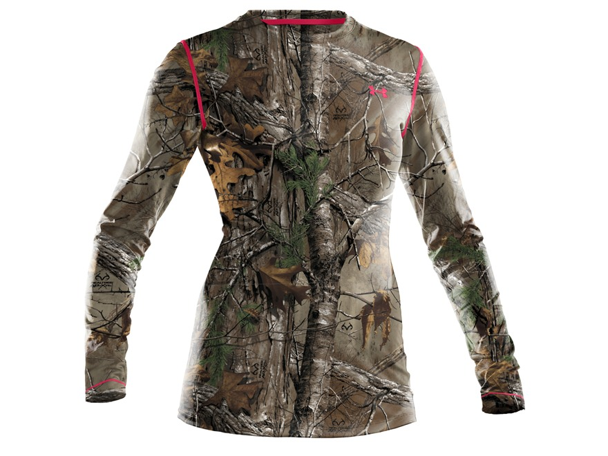 Under Armour Women's EVO HeatGear Crew Shirt Long Sleeve Polyester Realtree Xtra Camo S...