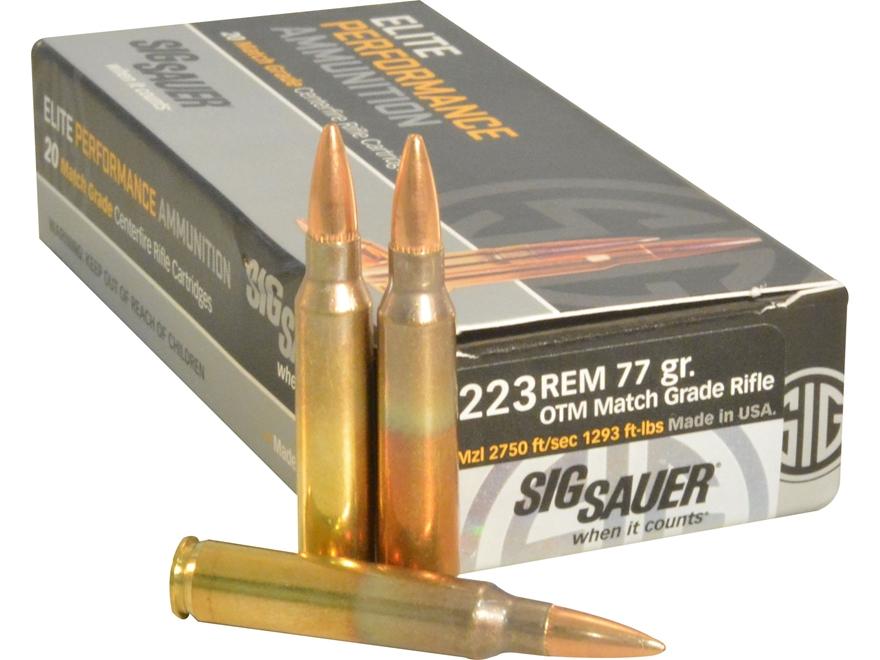 Sig Sauer Elite Performance Match Grade Ammunition 223 Remington 77 Grain Open Tip Matc...