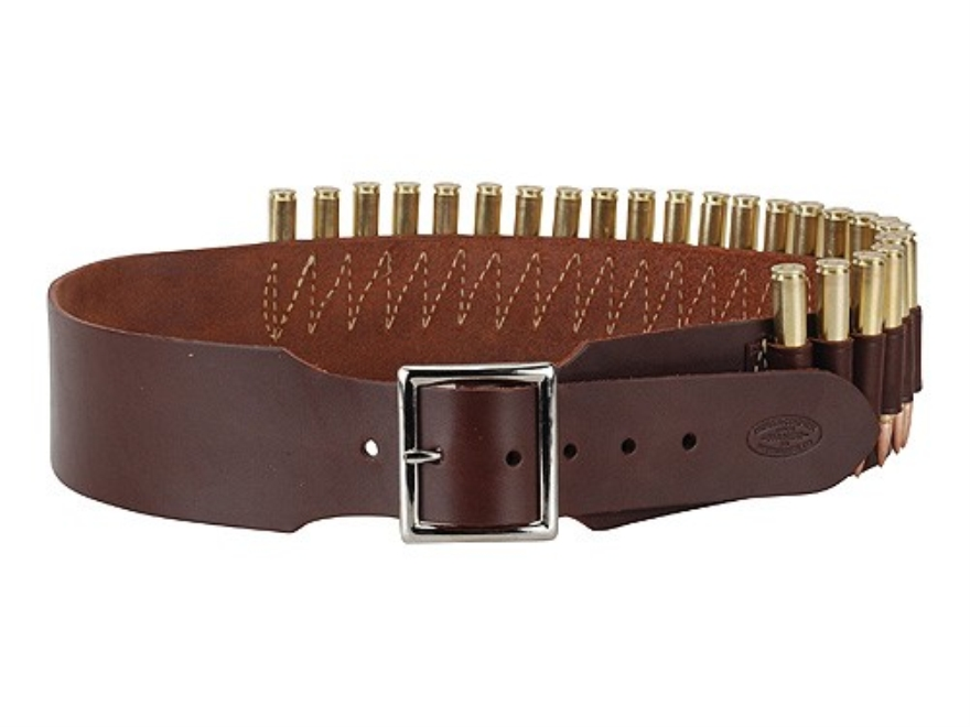 "Hunter Cartridge Belt 2-1/2"" 45 Caliber Straight Wall Rifle 25 Loops Leather Antique Br..."