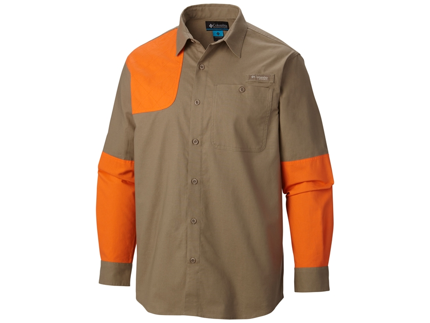 Columbia Men's Ptarmigan Briar Shooting Shirt Long Sleeve Cotton Flax and Blaze Orange