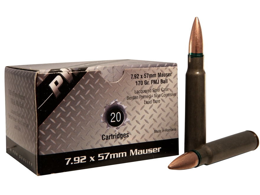 PW Arms Ammunition 8x57mm JS Mauser (8mm Mauser) 170 Grain Full Metal Jacket Boat Tail