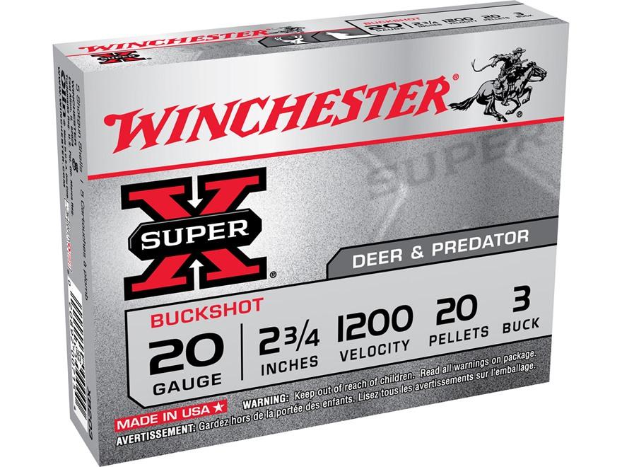 """Winchester Super-X Ammunition 20 Gauge 2-3/4"""" Buffered #3 Buckshot 20 Pellets Box of 5"""
