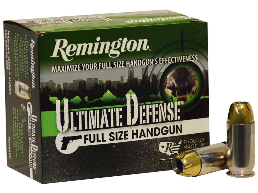 Remington HD Ultimate Defense Ammunition 45 ACP +P 185 Grain Brass Jacketed Hollow Poin...