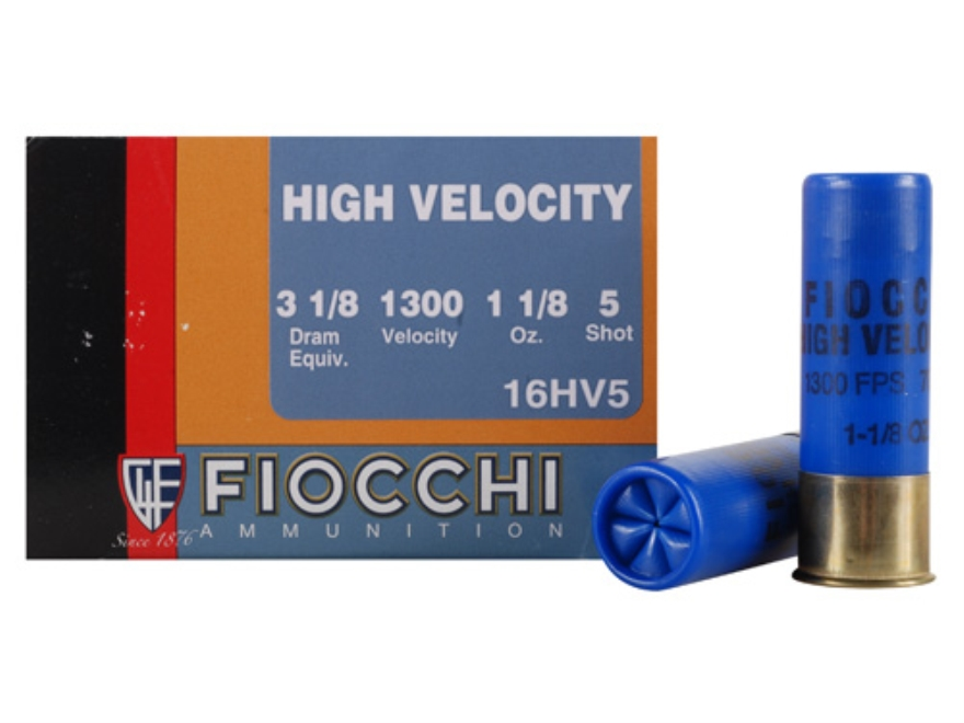 "Fiocchi High Velocity Ammunition 16 Gauge 2-3/4"" 1-1/8 oz #5 Chilled Lead Shot Box of 25"
